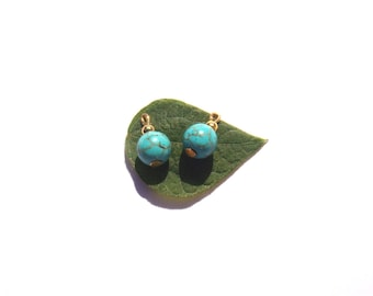 Turquoise dyed Howlite: 2 small charms 15 mm tall x 8 mm in diameter
