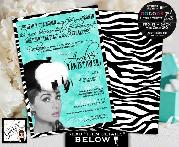Custom Audrey Hepburn invitations with picture and quote, breakfast at and co bridal shower, wedding, lingerie Gvites 5x7 double sided