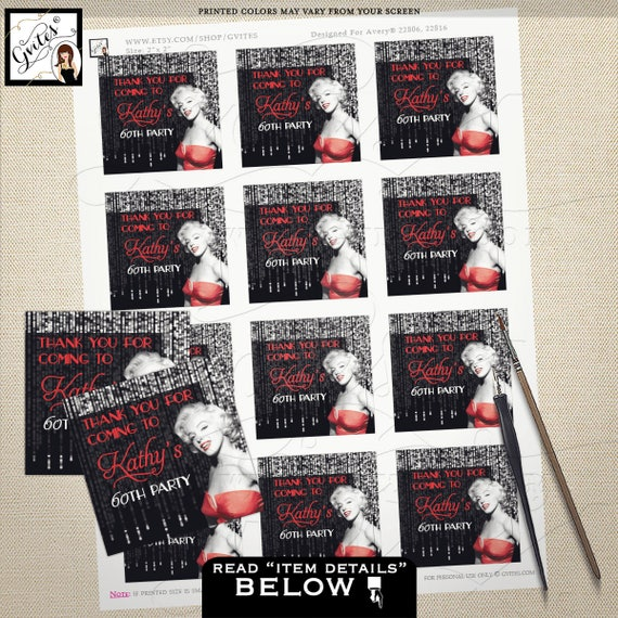 Thank you gift tags, 60th Marilyn Monroe party stickers, labels, tags, favors, old hollywood style, 1950s {Designed For Avery® 22806, 22816}