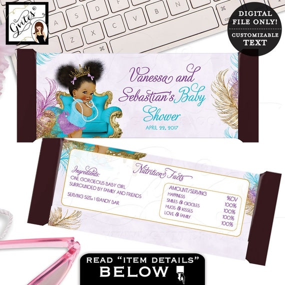 Candy wrappers baby shower, purple teal and gold candy wrapper, afro puffs african american girl, printable labels, favors. 2-Per/Sheet