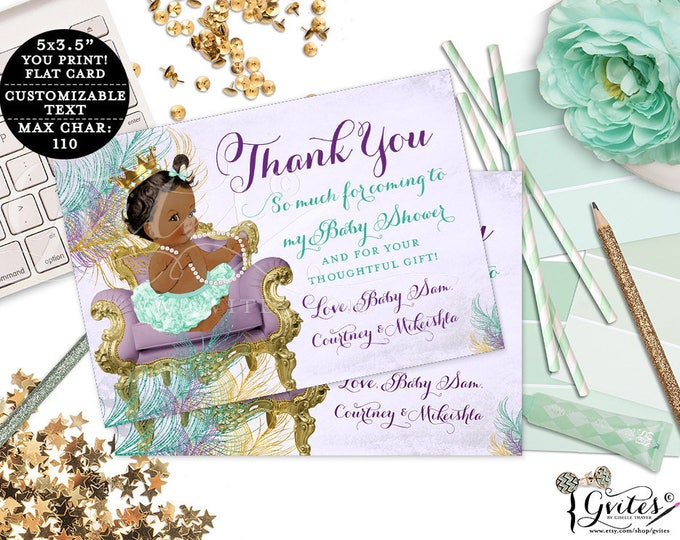 """Purple and Gold Thank You Cards baby shower, customizable ribbons bows diamonds pearls, princess, african american, flat 5x3.5"""" 4/Per Sheet"""