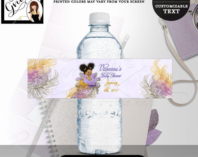 Purple and Gold Water bottle labels, baby shower, girl, lavender silver African American party stickers, favors gifts. 8x2/5 Per Sheet