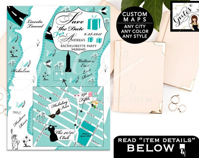 Breakfast at Tiffany's Save The Date Map Custom digital wedding map, personalized maps, save the dates, New York, Texas, ANY City/Theme