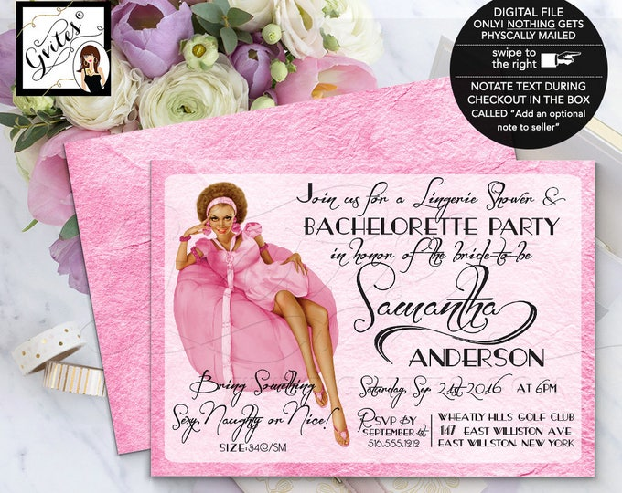 Pin Up Lingerie Shower, PinUp Girl Bachelorette Invitation, pink bachelorette party pin up girl, african american, 7x5 double sided.
