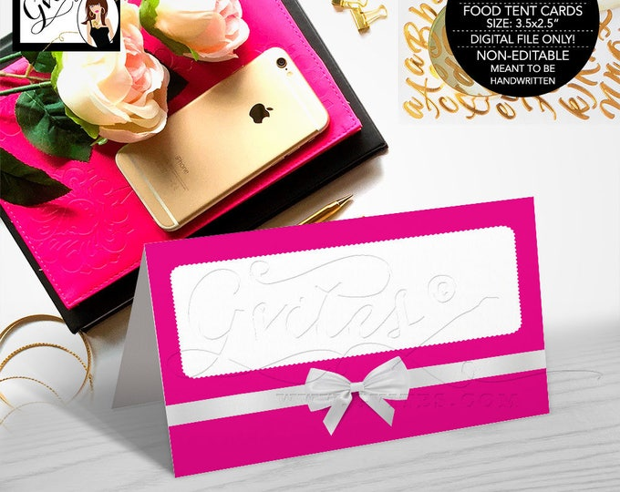"Food Tent Cards, Buffet Cards, Place Cards Guest Cards, Pink and White, Elegant, Printable, Digital, Folded: 3.5x2.5"" 4 Per/Sheet"