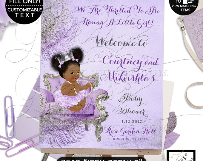 Lavender Purple & Silver Baby Shower Welcome Sign, African American Baby Girl Afro Puffs, Diamonds Pearls Princess Silver Crown. #WCSCLPS1