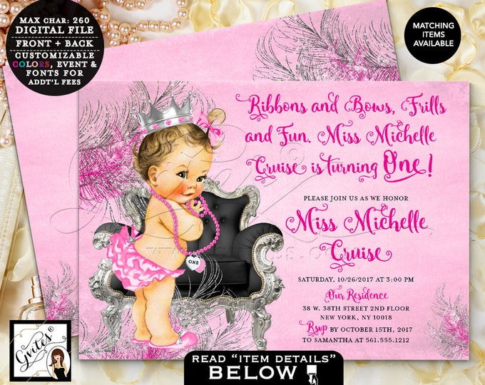 Pink and Silver Baby Shower, Silver Princess Shower Invitation, ribbons bows, diamonds pearls, invitations, 7x5 double sided. DIGITAL