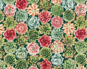 LAST PIECE!!! 1 1/8 yd***** Succulent Plant Cotton Fabric