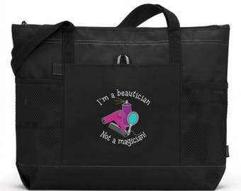 Embroidered Hairdresser Tote/ Hairdresser Gift/ Embroidered I'm A Beautician Not A Magician Hairdresser Hairstylist Tote Bag/Hairstylist Bag