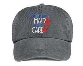 Embroidered Runner Hair Hat/ Runner Hair Don't Care Hat/ Messy Hair Hat/ Runner Hat/Pigment Dyed Runner Hat/ Distressed Runner Hat