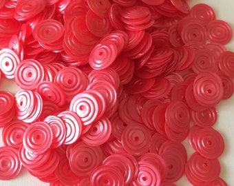 Circular satin sequin red pink color 8 mm in bulk