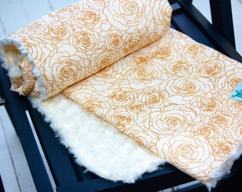 Gold Baby Blanket with Faux Fur Minky - Steeping Awakening - Floral Rose - Metallic Gold and Ivory - Ready to Ship