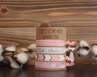 Flower Girl Proposal tie the knot hair ties princess pink