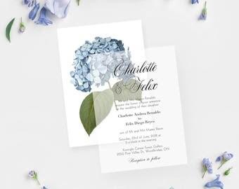 Blue Floral Wedding Invitations, Blue Floral Invitations, Blue Floral Invitation Suite, Floral Invites, Blue Floral Invitation