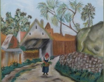 The peasant art wall decorative painting pastel