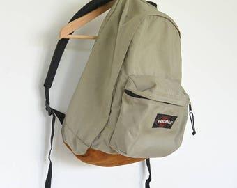 EastpakTan Canvas Backpack Leather Bottom and Top Grip Vintage 90's Padded Shoulder Pads Hiking Camping College Vintage Backpack Tan Canvas