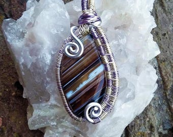 Indian Agate Wrapped in Purple and SoftGold Pendant