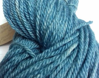 Summer Sky. 100 grams of naturally dyed yarn. Dyed with indigo. Aran weight.