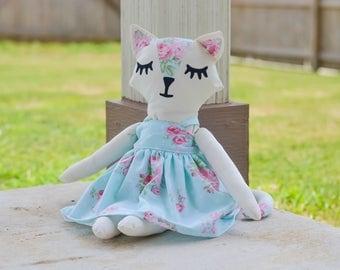 Stuffed Cat - Cat Doll - Fabric Dolls - Fabric Cat Doll - Cloth Doll - Cloth Cat Doll - Plushies - Cat Plushies - Vintage Style Doll
