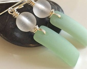 Light Green and White Sea Glass Earrings Sterling Silver