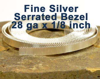 "28ga x 1/8"" Serrated Bezel Wire - Fine Silver - Choose Your Length"