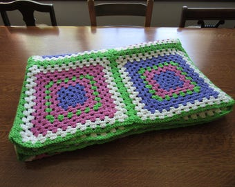 Vintage Crochet Blanket/Throw. Large, Oversized Granny Square Afghan. Pink, Green, Purple, White. Girls Room,Barbie Colors,Teen/Preteen Gift
