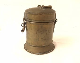 """ANTIQUE COIN BANK. Hand inscribed owner's inititials """"G F N"""" and """" 1740"""" in stippled script on one side. Full name in German on other side."""
