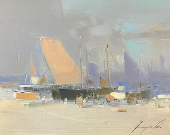 Sail Boats, Oil painting, Impressionism, handmade artwork, One of a kind