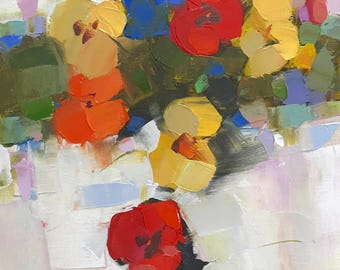 Pansies, Original oil painting, handmade artwork by Palette Knife, impressionism, One of a kind