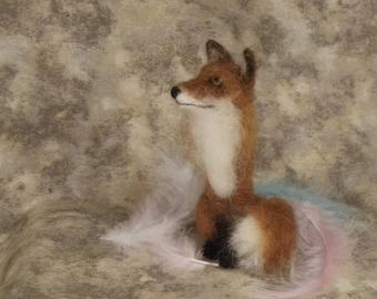 Needle felted Animal, Needle felted fox, Needle felted sitting fox, Red fox, Needle felted sculpture