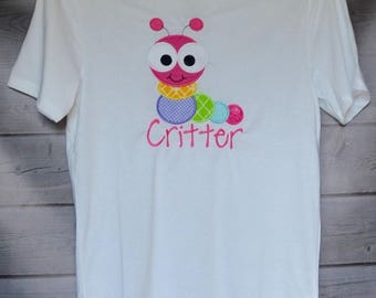 Personalized Big Eyed Caterpillar Applique Shirt or Onesie Boy or Girl