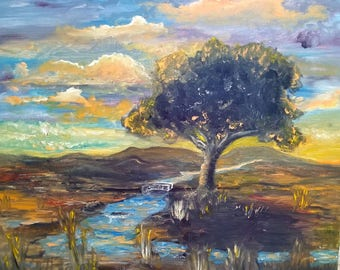 Lonely tree in the setting sun 16x20/Oil Painting