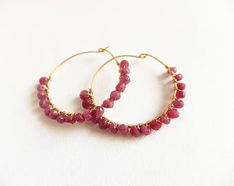 Red ruby earrings,hoop gemstone gold filled wrapped earring,boho hoop beaded earrings,ruby jewelry,Tiny Gemstone Hoop Earrings,Genuine Ruby