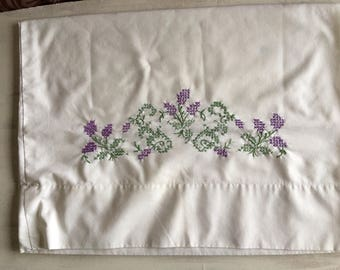 Old Fashioned White Pillowcase With Lavender Cross Stitch Embroidery