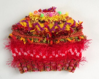 Embellished hat for3-6 year old girl.  Red, orange and yellow colouring. Bright colours, embroidery, textures and beads. One of a kind.