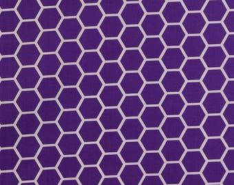 Hexagon  Deep Purple Fabric