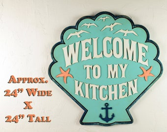 Welcome Rustic Signs Rustic Welcome Sign Wood Welcome Sign Ocean Wall Art Decor Cottage Style Sign Kitchen Sign Wood Ocean House Decor Beach