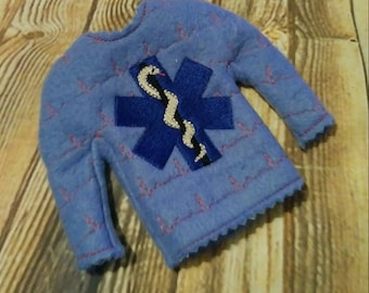 100% In the Hoop  - EMS - Medical - Paramedic - EMT - Doll Sweater - 5 x 7 Only - Fleece is Suggested -  DIGITAL Embroidery Design