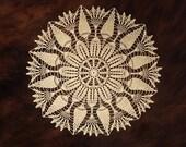 "Arianne lace centerpiece, fine crochet doily placemat, large table topper, wedding table decor, lace round doily 13.5"", dainty crochet doily"