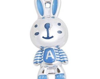 X 1 Rabbit 3D silver and blue letter A 35 mm