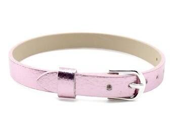 Pink faux leather bracelet 22cm