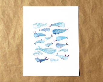 Whale Party Print