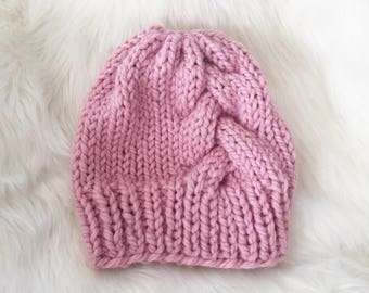 Pink Braided Beanie, Braided Winter Hat, Cable Knit Hat, Gifts under 40, Winter Gifts for Girls, Handmade Winter Accessories, Pink Kids Hat