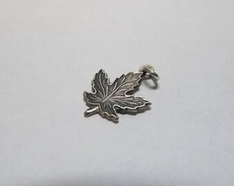 Vintage Sterling Silver Maple Leaf Charm W #297