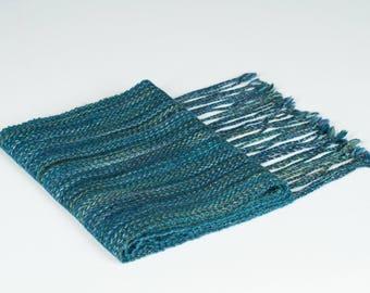 Blue Green Handwoven Alpaca Silk Scarf Woman Man Accessory Gift Soft
