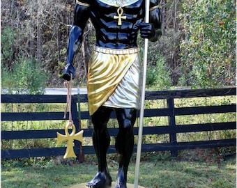 Ancient Egyptian Dogs Head Sculpture Statue 8 Foot Tall Gold Hieroglyphics