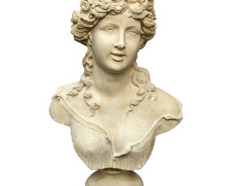 Big Faux Marble Sabine Roman Bust Statue Old Italian Stone Art Sculpture