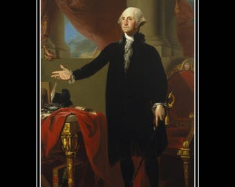 "GEORGE WASHINGTON 1796 president painting by Gilbert Stuart, 11x14""  Canvas art print, US presidents, America's 1st president,  us history"