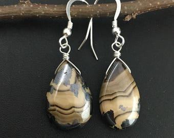 Schalenblende Earrings, Polish Flint Earrings, Sphalerire Earrings, Wurtzite earrings, silver earrings, gemstone earrings under 150