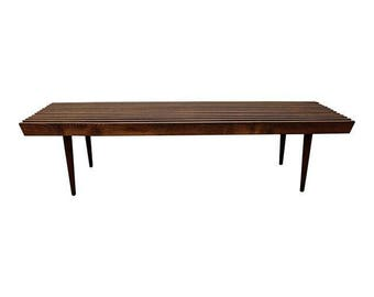 Mid-Century Coffee Table Danish Modern Walnut Slat Bench Coffee Table #9